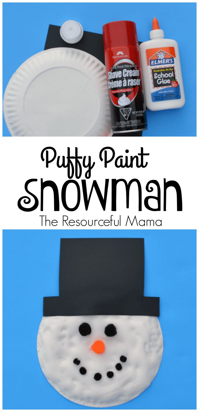 Puffy paint Frosty the Snowman craft