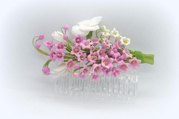The Comb flowers Pansy White pink Lily of the valley Wedding hair accessories Comb flowers bride white flower Hairpin bride Boutonniere