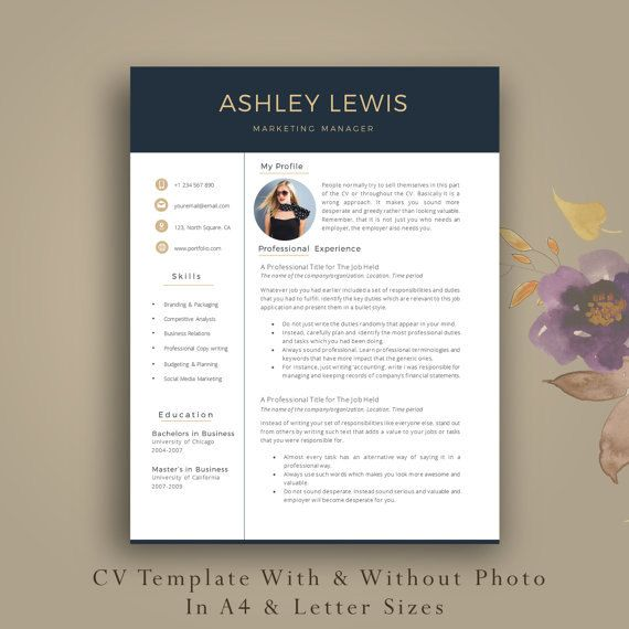 2 Page Professional Resume Template + Cover Letter + Additoinal References Page. Professional CV Template with Photo by AvataDesigns.