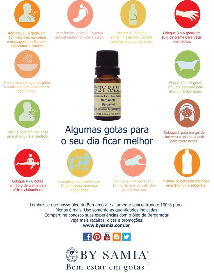Bergamota, óleo essencial - Você já conhecia estas dicas? - Veja a imagem maior no link: www.bysamia.com.br/public/arquivos/pratica_aromaterapia/usos_oleos_bergamota.pdf #bysamia #aromaterapia