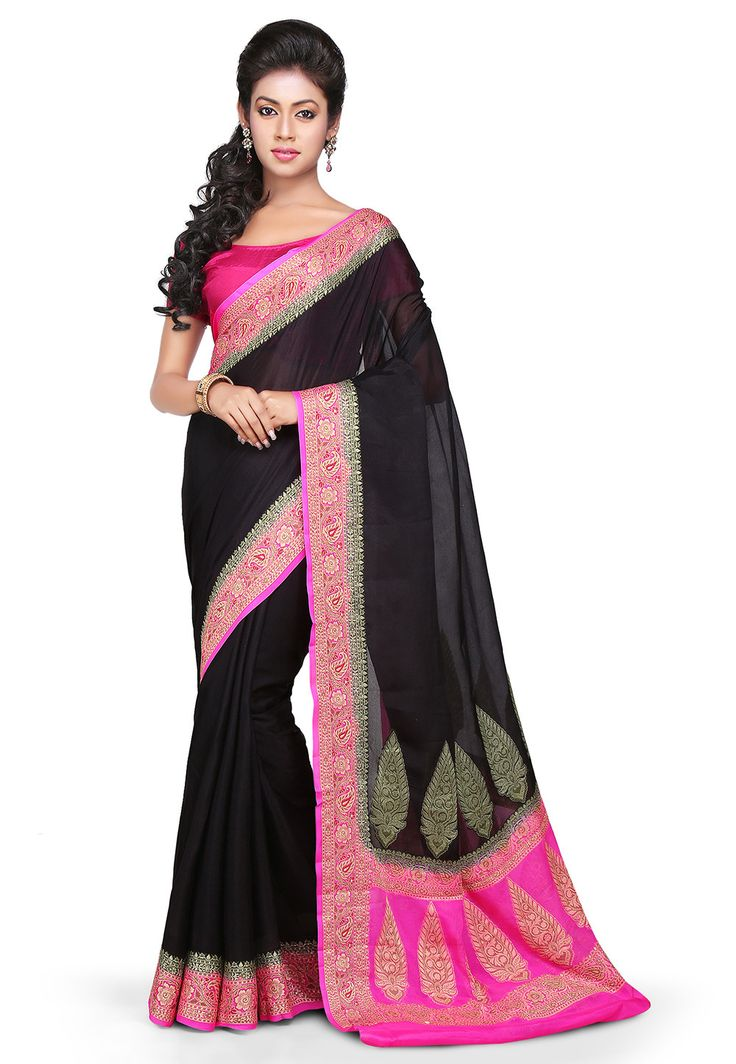 Woven Pure Georgette Saree in Black : SHR421