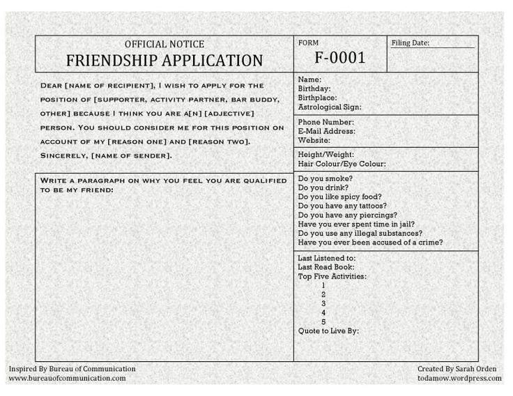 38e8c9b51639db88f90727ec3f8837ce Official Friend Application Form on for leave, u.s. passport,