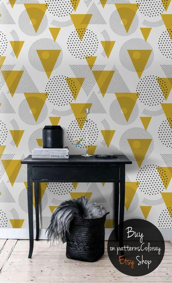 Mustard Geomtric Removable Wallpaper Geometric Pattern Etsy Temporary Wallpaper Wall Patterns Removable Wallpaper