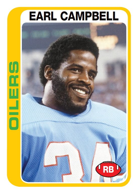 Earl Campbell in 1978 https://www.amazon.com/b?node=468642&tag=endzoneblog-20&camp=213525&creative=391609&linkCode=ur1&adid=1GJAHV79KHA006WZ5SMS&