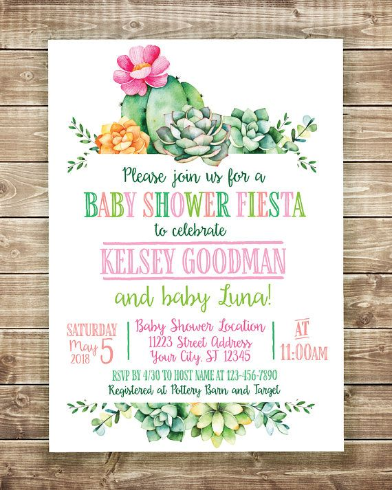 Baby Fiesta Invitation, Fiesta Baby Shower Invitation, Cactus Baby Shower Invite, Succulent Baby Shower Invitation, Dos Babies, Fiesta Baby