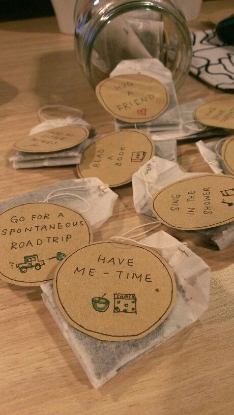 A friend re-labelled all the tea bags into a personalized labels for.me and put them in a jar for her farewell gift! So creative and thoughtful