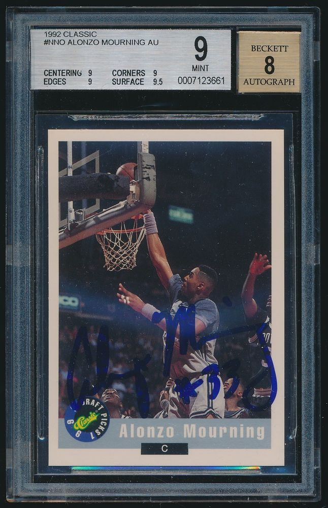 1992 Classic Autograph rc #NNO Alonzo Mourning BGS 9 MINT #Georgetown
