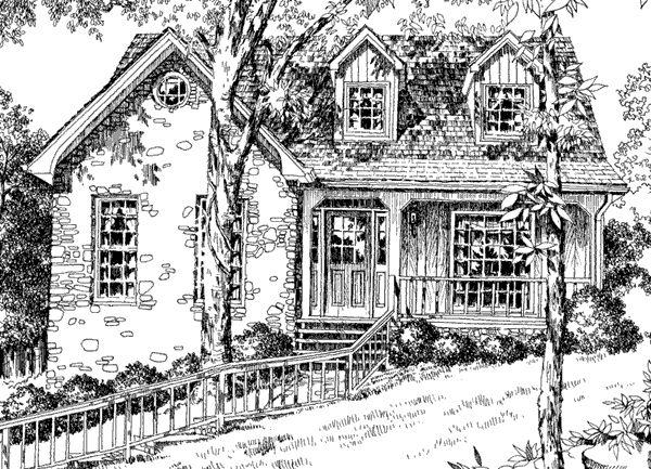 side peak idea, all stone, Sticks Stones Cottage - Philip Franks   Southern Living House Plans