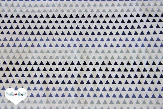 Mini **Triangle** Dreiecke Stoff aus _100% Baumwolle_ in schlichten Farben.  Der weiche Baumwollstoff mit beliebten geometrischen, Triangel Muster in  rauch blau ▲ hellgrau ▲ dunkelblau ▲ weiß...