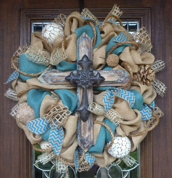 BURLAP and TURQUOISE Wreath with a Rustic CROSS by decoglitz