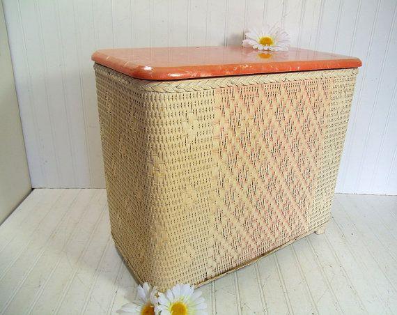 Vintage Salmon Orange & Ivory Wicker Wooden Clothes Hamper