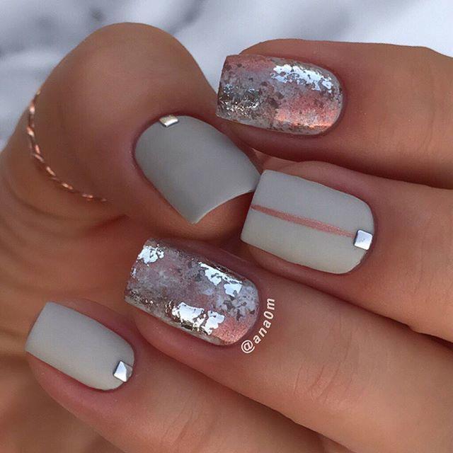 Short Nails Square Nails Gold Flake Nails Stone Gray Nails