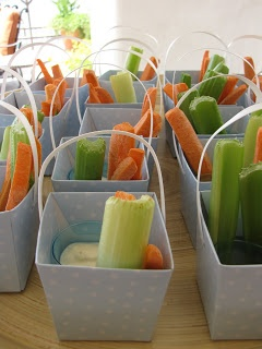 I love this veggies and dip sand pail idea!  ------------  Coté Weddings and Events: Orange and Blue Beach Theme Baby Shower