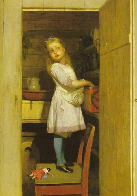 Johan August Malmström (Swedish, 1829-1901) Med handen i kakburken