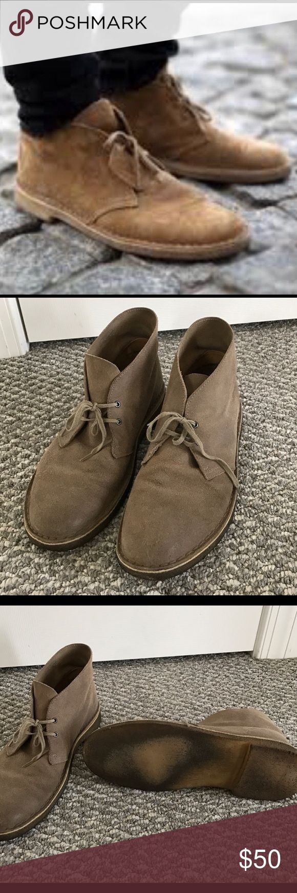 Mens Clarks Desert Boots Mens Clarks Desert Boots, Taupe Suede, Size 12, very gently used, worn only a few times, a great deal! Clarks Shoes