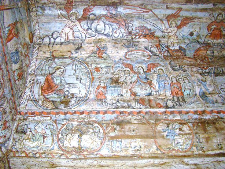 Biserica de lemn din Bârsana, de pe dealul Jbâr - sus: Înălțarea sfântului Ilie, Înger trâmbițând; Jos: Evanghelistul Ioan, Soborul Arhanghelilor BarsanaMM2012_(20).JPG (3264×2448)