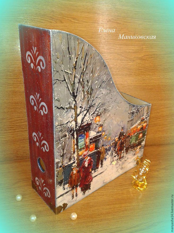 """Купить """"Париж зимой"""",журнальница. - Париж, зима, дамы, кареты, Живопись, импрессионизм, старинный стиль"""