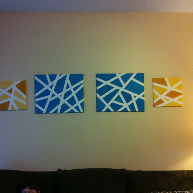 Easy diy art canvas painters tape and your favorite for How to make canvas painting