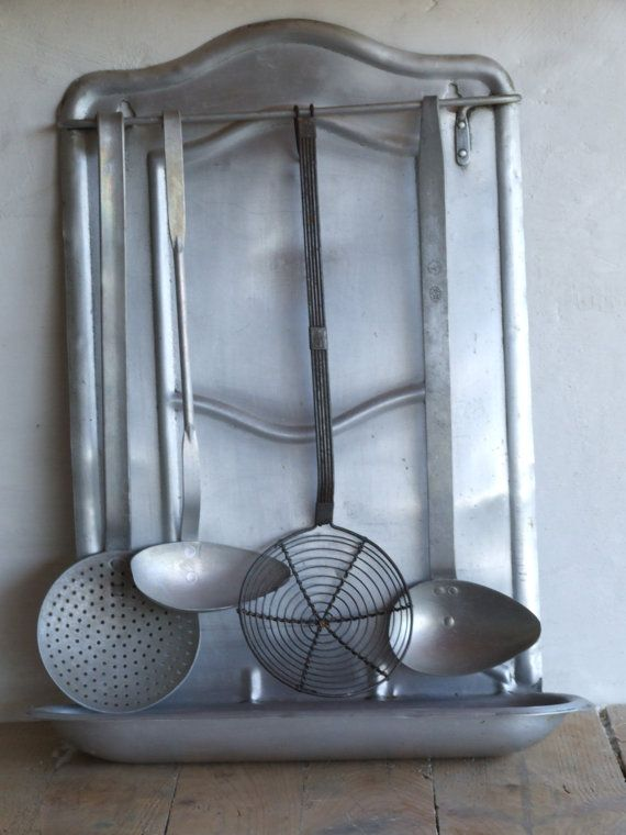 Beautiful Vintage French Aluminium Kitchen Utensils with Hanging Rack Drip Tray 4 Utensils // Kitchen Utensil Rack  // Utensils holder //
