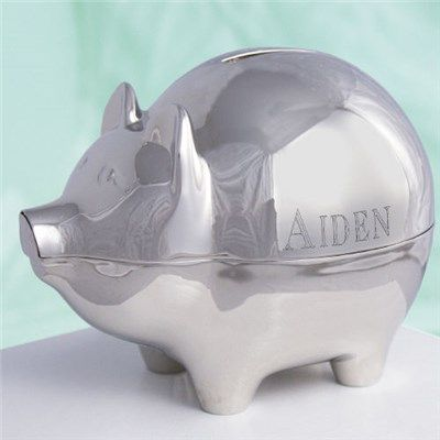 172 best images about piggy bank on pinterest coins ceramics and vintage - Engraved silver piggy bank ...