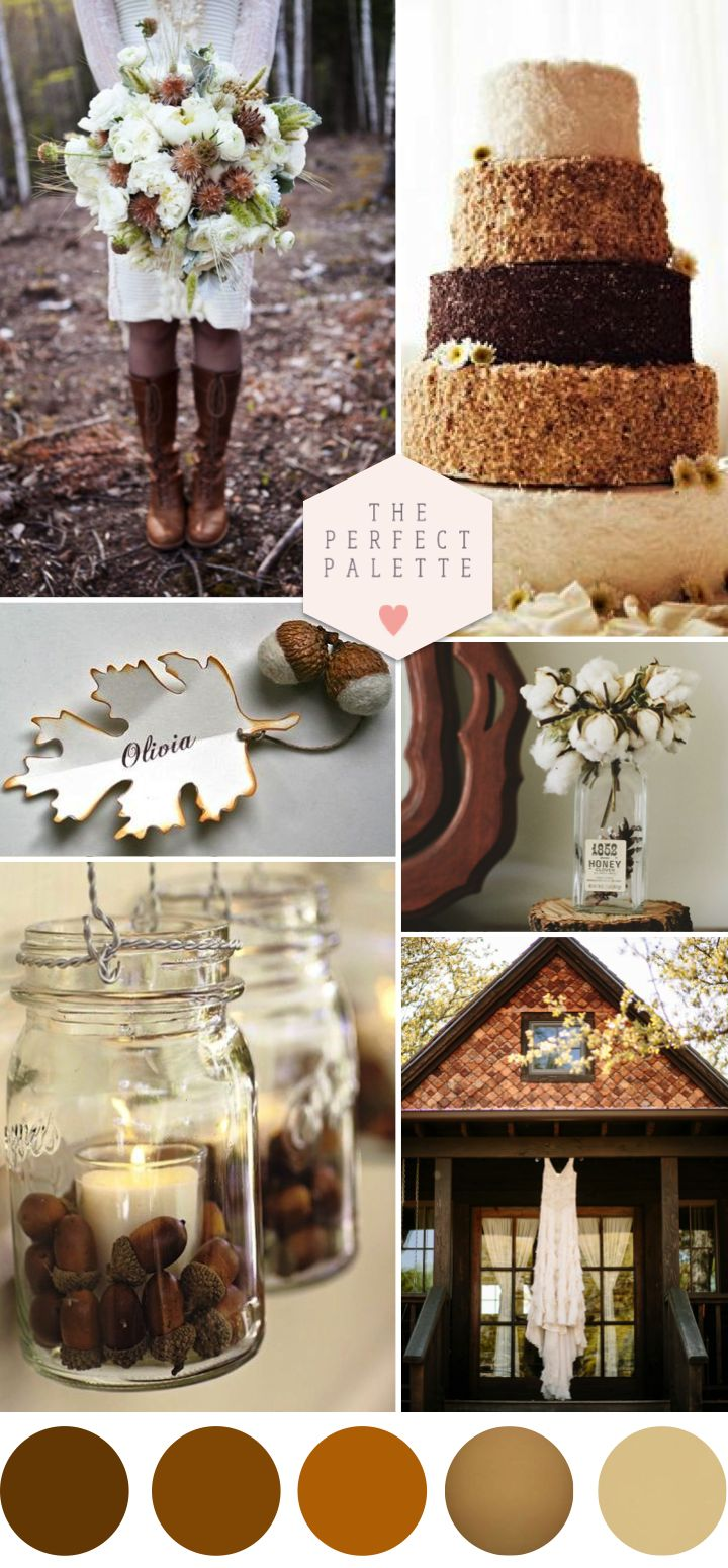 Autumn Acorn Wedding with Rustic Details - www.theperfectpalette.com - Shades of Brown