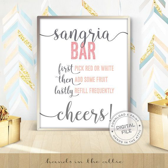 Sangria Bar sign #BridalShower #SangriaBar #sangria