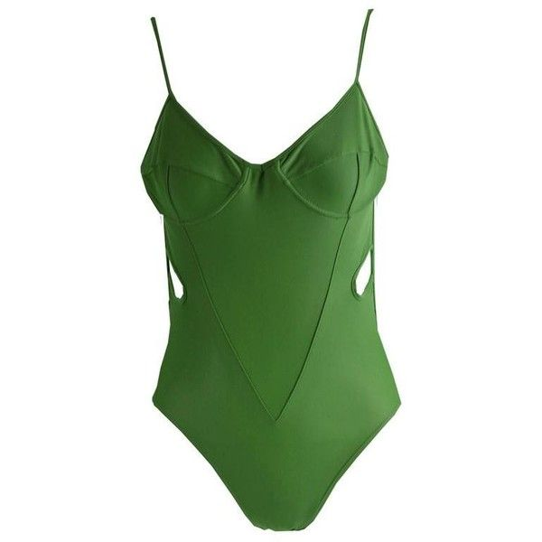 Preowned Early John Galliano London Green Cut Out Swimsuit Made In... ($267) ❤ liked on Polyvore featuring swimwear, one-piece swimsuits, green, cut out one piece swimsuit, vintage bathing suits, green one piece swimsuit, sexy one piece swimsuits and cut out swimsuit
