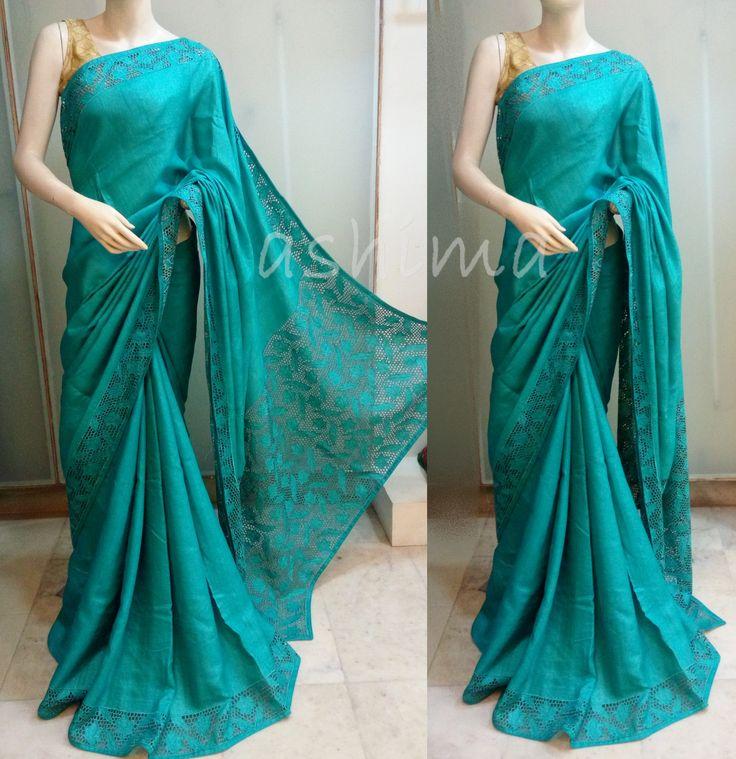 Code:1805160 - Tussar Silk Saree with Cutwork, Price INR:10800/-