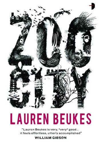 """Effective - This book cover uses very impressive typography. From far away, the words just look like """"Zoo City"""", however, upon further inspection, the letters are actually made up of buildings and animals/parts of animals. Closure and proximity has been employed to make the text successful. The use of contrasting colours, black and white, also make this book cover very striking. AC"""