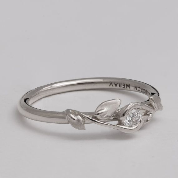 Leaves Engagement Ring - 14K White Gold and Diamond engagement ring, engagement ring, leaf ring, filigree, antique, art nouveau, vintage