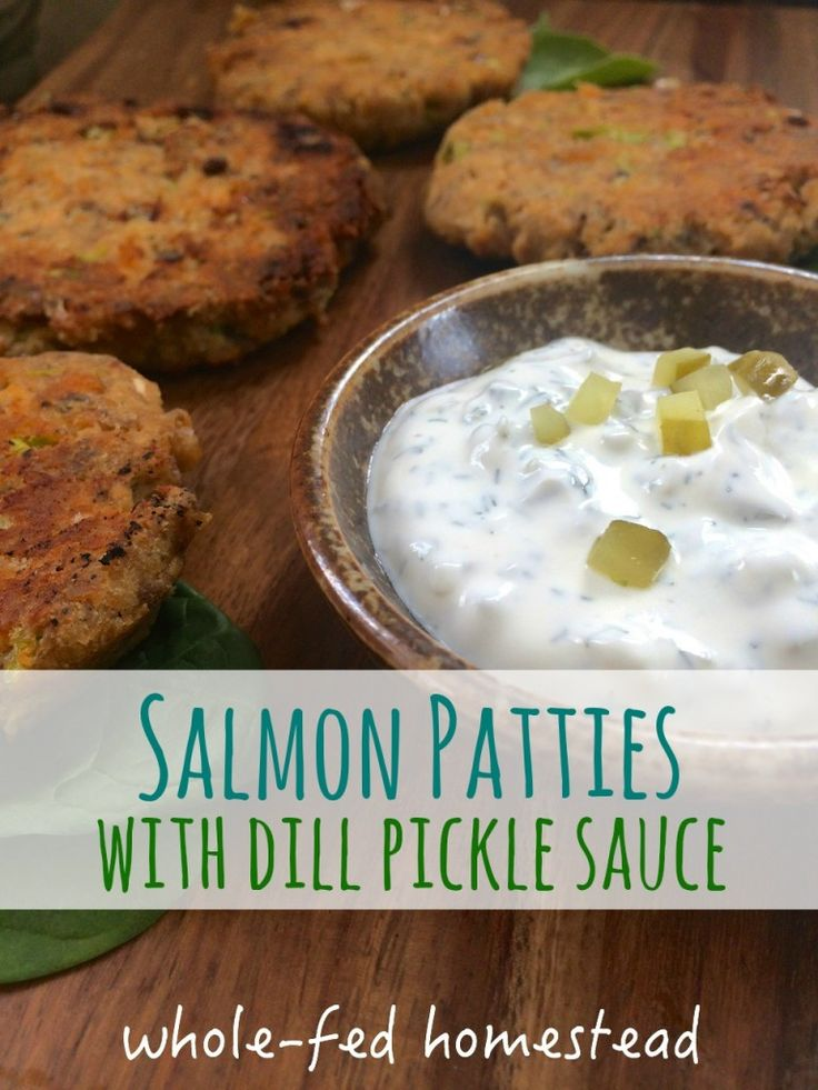 Simple Salmon Patties with Dill Pickle Sauce- Gluten Free, Paleo! Great recipe for canned salmon. Quick and easy dinner.
