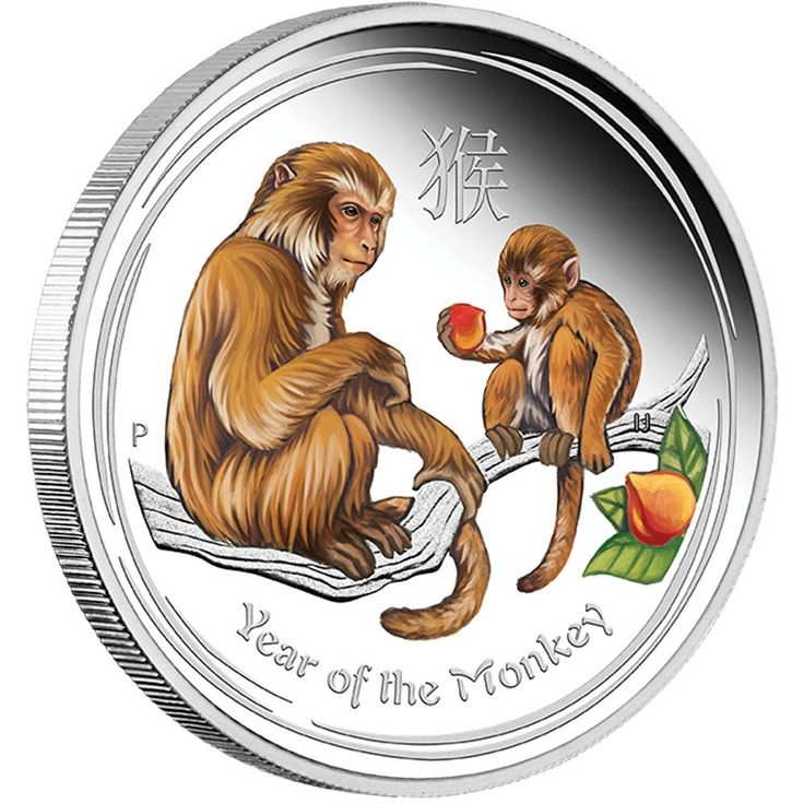 Perth ANDA Coin Show Special 2016 Year of the Monkey 2oz Silver Proof Coloured Coin