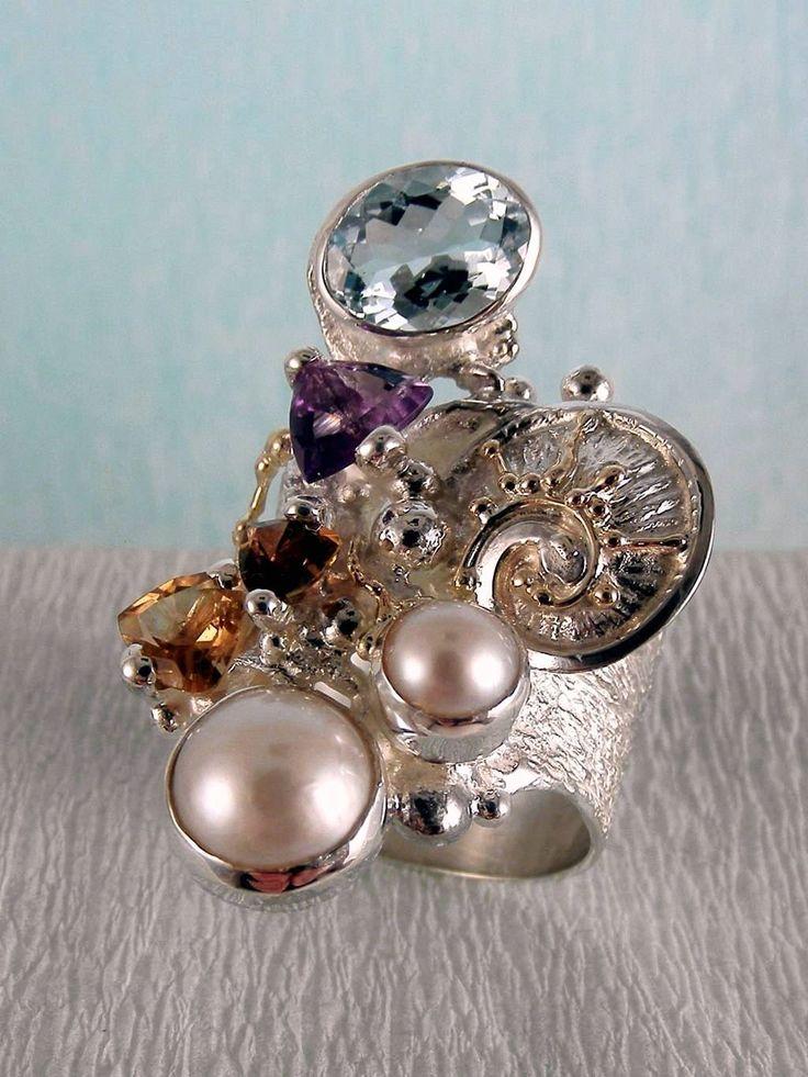 серебро и 14-каратное золото, розовый турмалин, гранат, аметист, голубой топаз, жемчуг, Григорий Пыра Пиро кольцо 2050