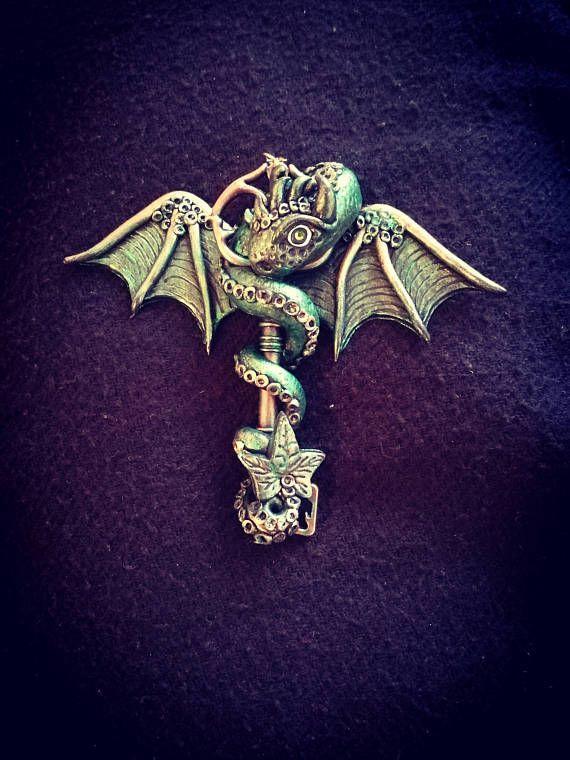 Dragon Key  handmade Polymer clay fantasy necklace dragon and