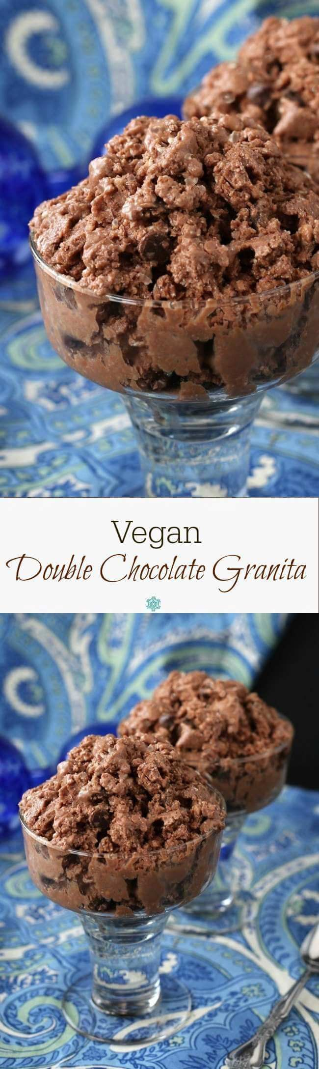 Vegan Double Chocolate Granita is a deep rich chocolate delicacy where ...