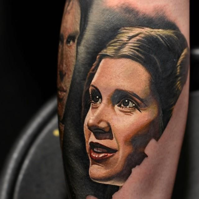 Leia portrait  from Star Wars  Tattoo, May the force be with you, princess leia, luke skywalker, darth vadder, hans solo, chewy, lando, R2D2, C3PO, jabba the hut, lando, death star, yoda, ewaks, obi one kenobi, dark side, wookie, light saber, millennium falcon, Admiral Ackbar, anakin skywalker, at-at walker, bantha, BB-8, boba fettm , Chewbacca,  	 www.talesofthetatt.com