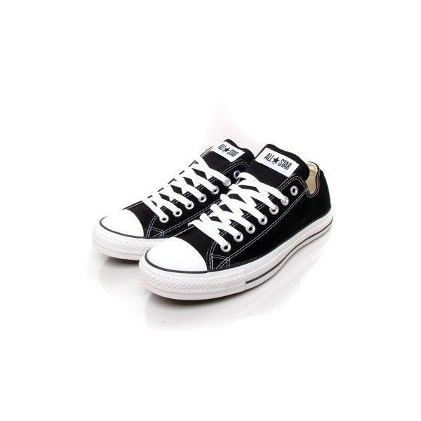 FRESHCOTTON - CONVERSE - OX black - De klassieke All Star in het lage... ($68) ❤ liked on Polyvore featuring shoes, sneakers, converse, black sneakers, black canvas shoes, canvas shoes, star shoes and canvas sneakers