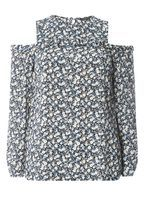 Womens Multi Coloured Ditsy Print Frill Cold Shoulder Top- Yellow