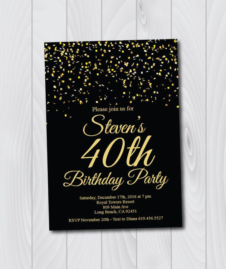80 best birthday images on pinterest etsy shop birthday birthday invitationprintable gold black birthday invitatione card invitationtemplatebirthday invitationninetieth birthday by blesseddaypaper on etsy stopboris Gallery