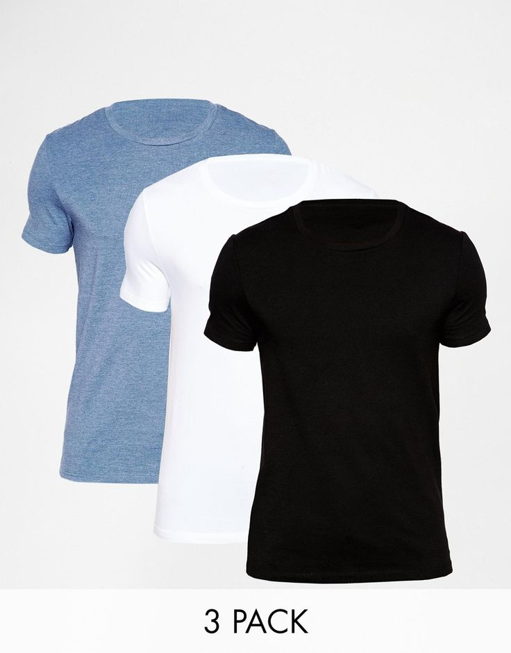 "Muscle fit t-shirt pack by ASOS Stretch jersey Crew neck Slim cut sleeves Tight fit to the body Skinny fit - cut closely to the body Machine wash 94% Cotton, 6% Elastane 47% Cotton, 47% Polyester, 6% Elastane. Our model wears a size Medium and is 188cm/6'2"" tall Pack of three"