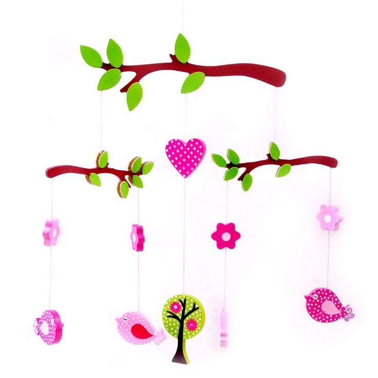 colourful handmade wooden hanging Mobile with beautiful Birds hanging from each branch. A classic gift that makes a pretty decoration for a girls bedroom.  Measurements: 40cm Not a toy for the under 3. Only to be used for ornamental purposes.