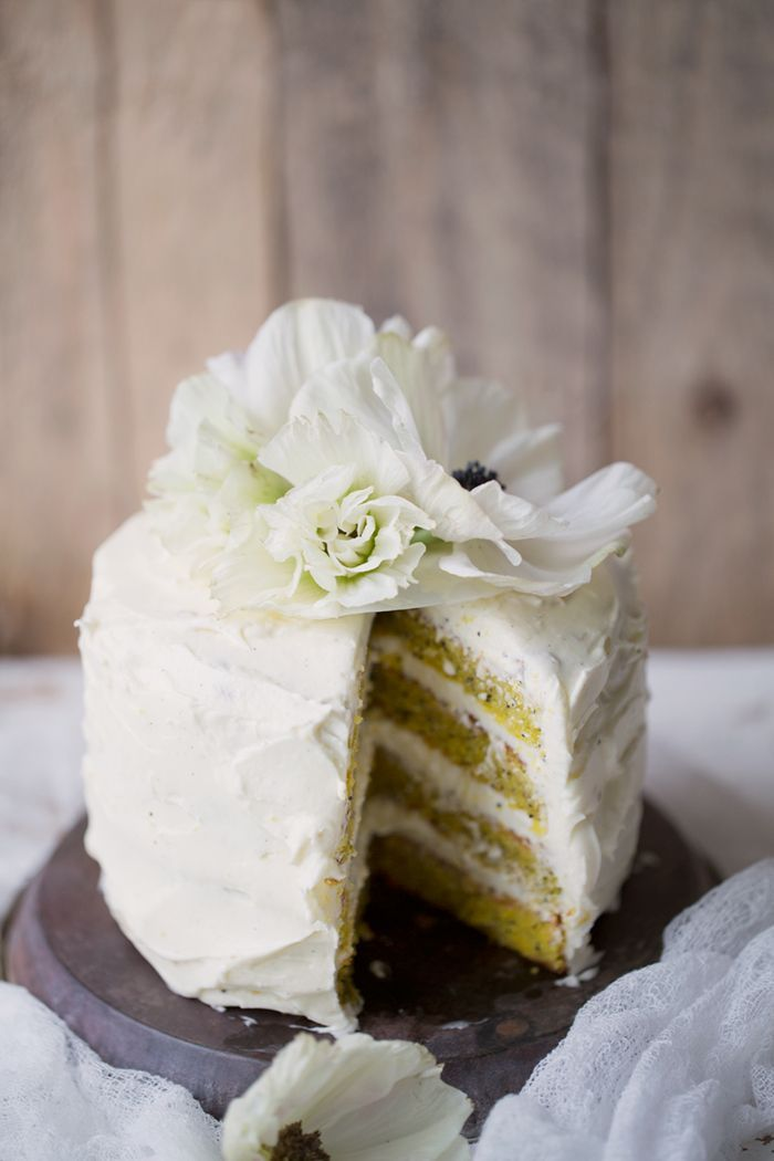 Saffron, orange & poppy seed layer cake with Vanilla cream cheese frosting