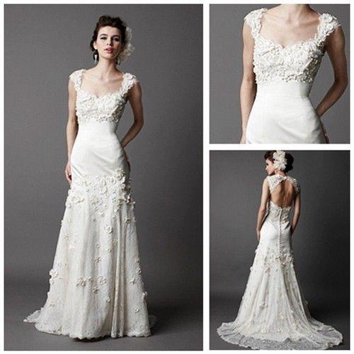 Pleated Sheath Ivory Soft Satin And Lace Keyhole Back Wedding Dresses Designers