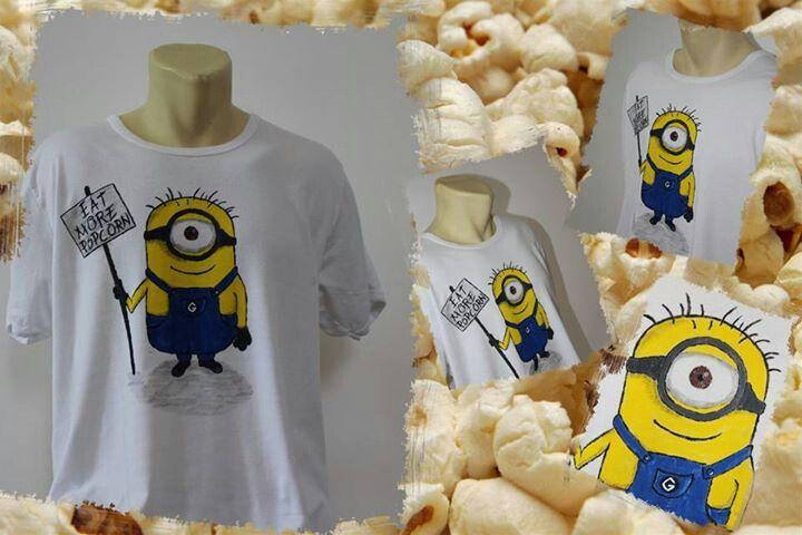 Popcorn Minion hand painted t-shirt
