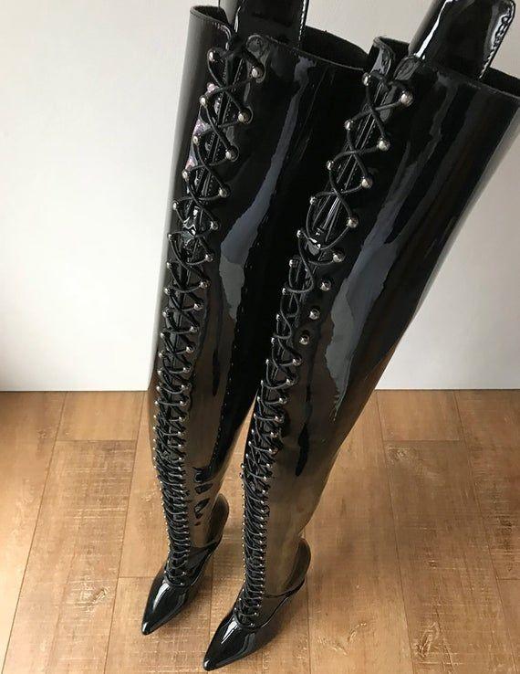 Rtbu Lulu Schritt Hallo Harte Welle Laceup 18cm Stiletto Stiefel Schwarz Lack In 2020 Shoe Boots Leather Shoes Boots