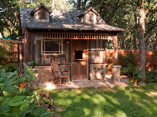 What a cute rustic backyard retreat/shed!