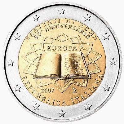 2 Euro Commemorative Coins: 2 euro coins Italy 2007, 50th anniversary of the Treaty of Rome. Commemorative 2 euro coins from Italy