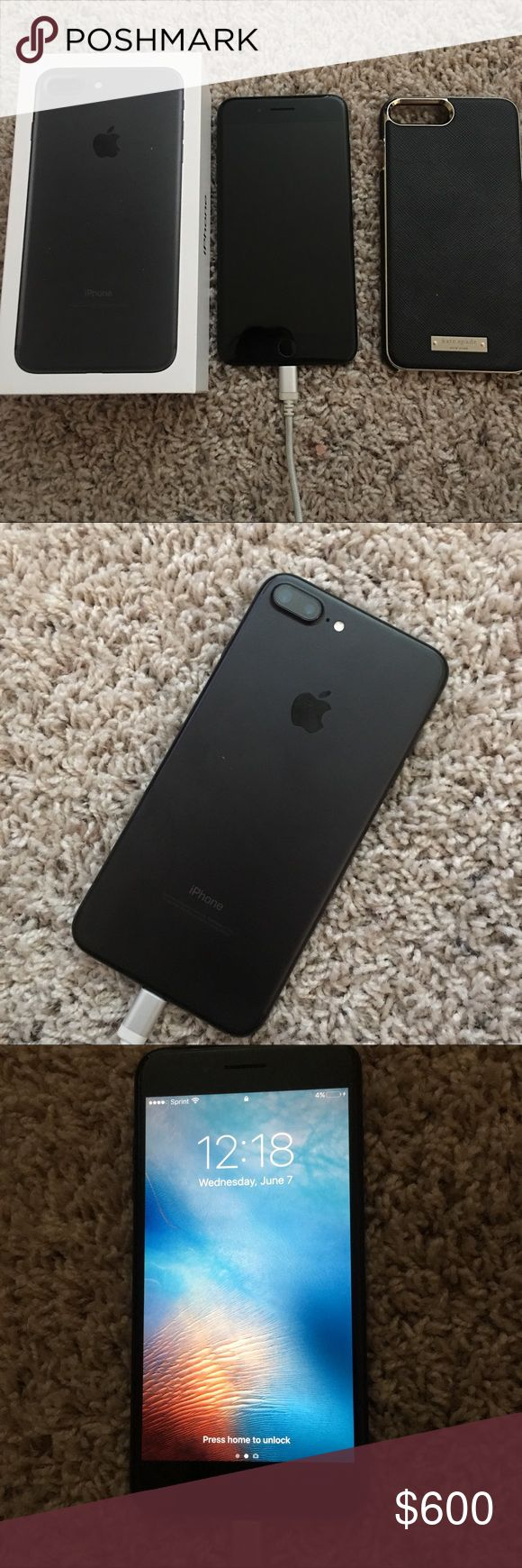 iPhone 7 Plus 128gb Sprint Impeccable condition, iPhone 7 Plus Matte Black, 128gb, cleaned with box, Kate Spade Case also sold separately $40. Bundle with phone $600 Apple Other