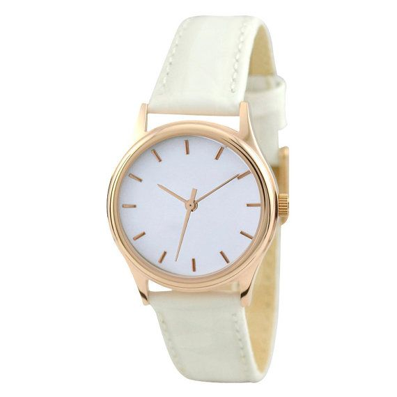 Ladies Rose Gold Watch White with white strap by SandMwatch