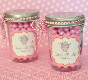 Tea Party Personalized Mini Mason Jars